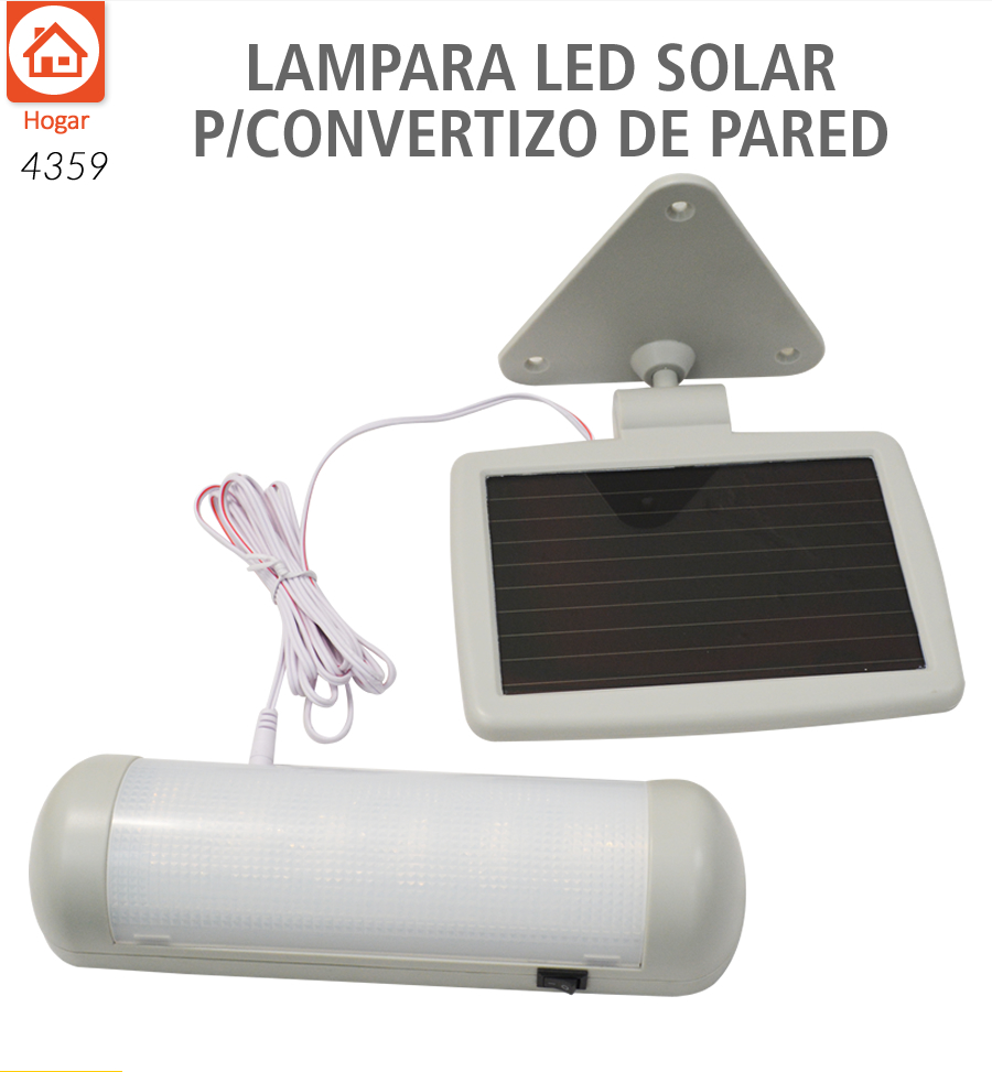 Lampara led panel solar p cobertizo pared luz blanca for Lampara solar led